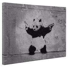 "Banksy Panda with Guns Box Framed Canvas Panda Print Wall Art A1 Large 20"" X 30"""