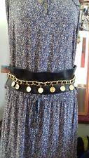 Chanel ceinture cuir et chaine or