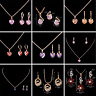 18K Gold Plated Cubic Zirconia Heart Pendant Necklace Chain Earring Jewelry Sets