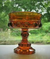 Indiana Colony Glass Amber Kings Crown Compote Footed Candy Dish