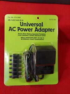 Archer Universal AC Adapter Power Cord 273-1650 W/ 6 Adaptaplugs