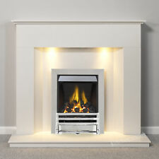 WHITE MARBLE STONE MODERN GAS SURROUND CHROME FIRE COALS FIREPLACE SUITE LIGHTS