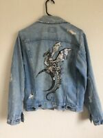 LF vintage distressed dragon embroidered denim jacket NWT OS