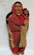 "Vintage Native American Indian 11"" SKOOKUM Bully Good Doll w/Papoose~ NICE!"
