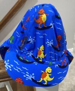 JoJo Maman Bebe baby toddler boys blue sun hat flap dinosaur size 3-5 years
