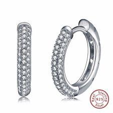 """Sterling Silver 925 Huggie Earring CZ Zirconia Set Small Hoop Women Jewelry 0.7"""""""