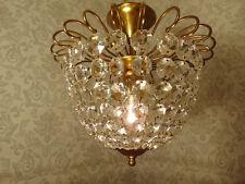 antik alte Kristallplafoniere Lüster Messing Gold Kristall Frankreich  ca. 1930