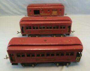 Lionel Standard Gauge Lot of 3 Passenger Tin-Plate Cars - PARTS / RESTORE ONLY