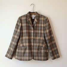 Faconnable Cashmere Wool Glen Plaid Suede Patch Blazer Jacket Sz 14 PERFECT