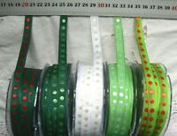 CHRISTMAS Solid Nylon Centre SPOTS 10mm wide 5 metre length 5 colour Choice BDL9