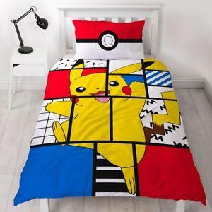 Pokemon 'Memphis' Single Panel Duvet Cover Reverse Bedding Set Pokeball Pikachu