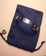 NWT Tory Burch Pierced Logo T Cuff Bangle Bracelet In Silver with Pouch 35% OFF!