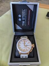 TW Steel CEO Canteen Day Date White Ceramic Leather Quartz Mens Watch CE1035