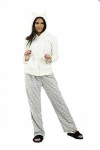 Ladies Pyjama PJ Set Top Bottom women's Nightwear  Ex Catalogue Cream Hoodie Set