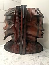 Vintage Hand Carved Ebony Wooden Book Ends African Tribal Wood Face Bookends #Sh