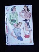Vintage Simplicity Pattern Misses Blouse 1950S Bust 32