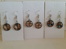 Book Design Dangle Earrings Cat Bookshelf Birthday Present Reading Gift Library