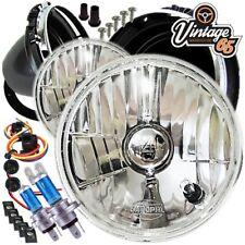 """Classic Mini Headlight & Bowl Kit 7"""" Crystal Glass + Pilot Cooper Austin Morris"""