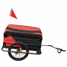 Folding Black Red Bicycle Trailer carries Cargo Trailers Fabric Top Cover Uk