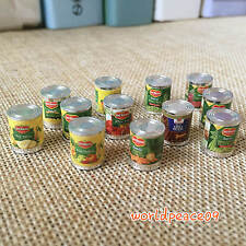 12Pcs Dollhouse Miniature Canned Fruit Jam Cans 1:12 Scale Model