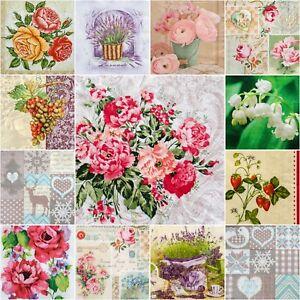 5 Single Paper Table Napkins for Decoupage * ROSES * XMAS * FLOWERS * LAVENDER