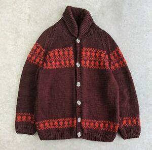 Vintage 1970s Cowichan-style Wool Sweater sz L