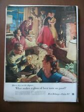 1955 Vintage Original Magazine Ad Beer & Ale Weekend In The Ski Country SUNDBLOM
