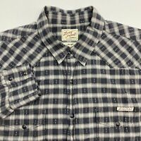 Lucky Brand Snap Up Shirt Men's Large Long Sleeve Black Gray Plaid Casual Cotton