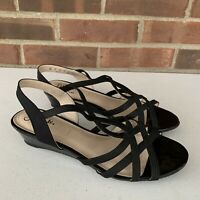 Life Stride YAYA black strap Low wedge sandals Women's Size US 9 M Faux Leather