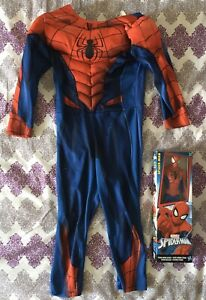 """Spiderman Dressing-Up Costume 2-4 Yrs With 12"""" Figure New In Box"""