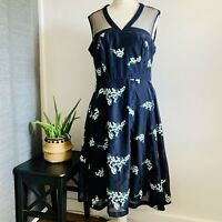 PHASE EIGHT Dress Size 14 BLUE FLORAL   SMART Occasion WEDDING Cruise RACES 50s
