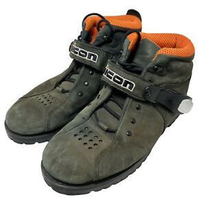 Icon Motorcycle Boots (Size US 10 Men's)