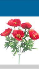 Montón de amapolas rojas artificial de amapola Bush Posy Boda Flores jardín tumba Ollas