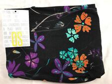 Lularoe Colorful Flowers On Black Backgorund Print Leggings New Blue&purple OS