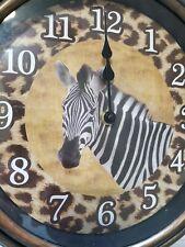 "WALL CLOCK ZEBRA LEOPARD PRINT SAFARI THEMED BATTERY OPERATED 12"" CLOCK"