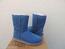 UGG CLASSIC SHORT BLUE JAY SUEDE/ SHEEPSKIN BOOTS, US 7/ EUR 38 ~NIB