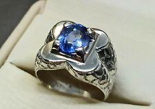 Round Cut Rare Deep Blue Topaz Mens Ring Sterling Silver 925 Handmade Topaz Ring