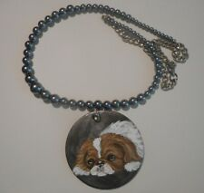 Japanese Chin Dog Bead Necklace Hand Painted Ceramic Pendant