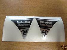Isle of man road races-tt visière corner decal autocollant-noir & chrome