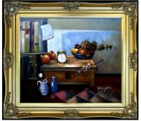 Framed Hand Painted Oil Painting, Still Life with Clock and Fruits 20x24in