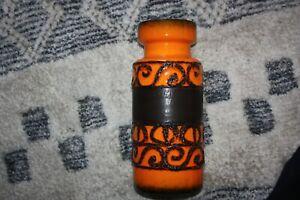 Vintage West Germany Large Fat Lava Vase 30cmTall. Orange & Black/Brown