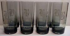 Monogrammed B - Smoky/Gray Colored Glasses/Tumblers - Set of 9 - 12 oz Highball