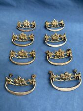 8 Antique Drawer Pulls Brass Floral Backplate Iron Bail Furniture Hardware