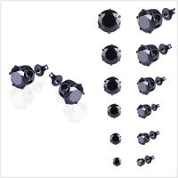 Men Women Stainless Steel Black Round Cubic Ear Studs Earrings 3mm-8mm 6Pairs E&