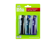Bull brand 3 pack electronic refillable lighters with Led light, assorted colour