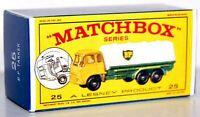 Matchbox Lesney No 25  BEDFORD B.P. PETROL TANKER empty Repro E style Box