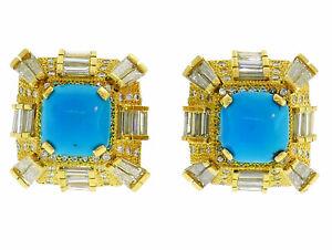 Turquoise Diamond Yellow Gold EARRINGS