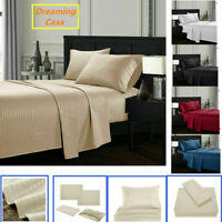 Queen King Deep Pocket Bed Sheets Set Fitted Flat 1800 Count Egyptian Comfort H2