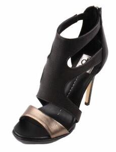 Dolce Vita Swift Women's Black Metallic Leather Heel Sandals size 6.5