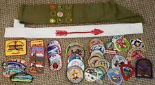 Lot of over 50 Vintage Boy Scout BSA Patches & Arrow Sash - Patch Sash